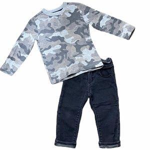 Baby Gap grey camo long sleeve & pants set